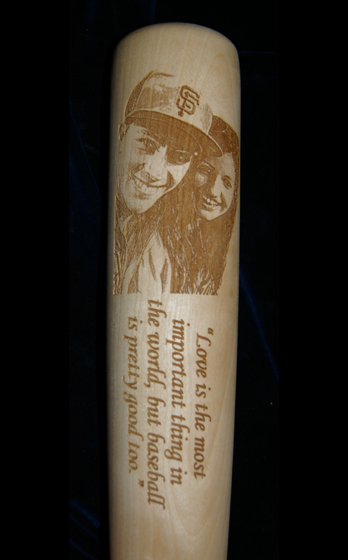 Custom engraved bat engraved with vertical oriented photo and wording