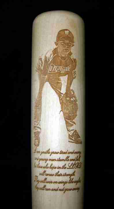 Game photo of player, photo-engraved on large barrel maple bat