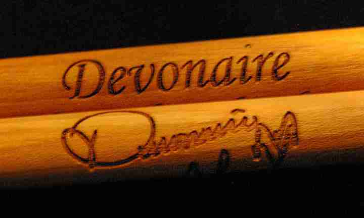 Signature engraved drumsticks w/  name and signature on the other