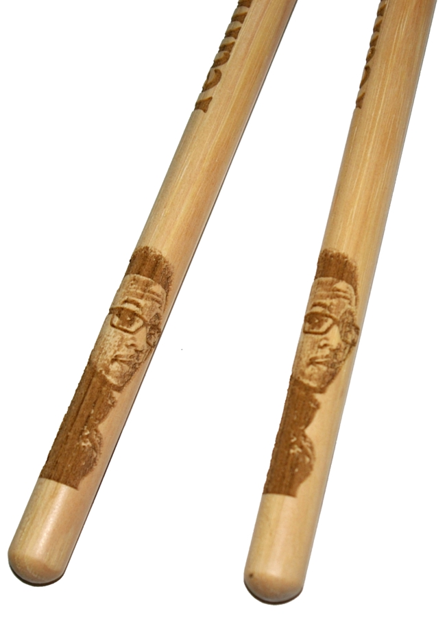 Custom drumsticks with drummer photo engraving with same photo on each stick
