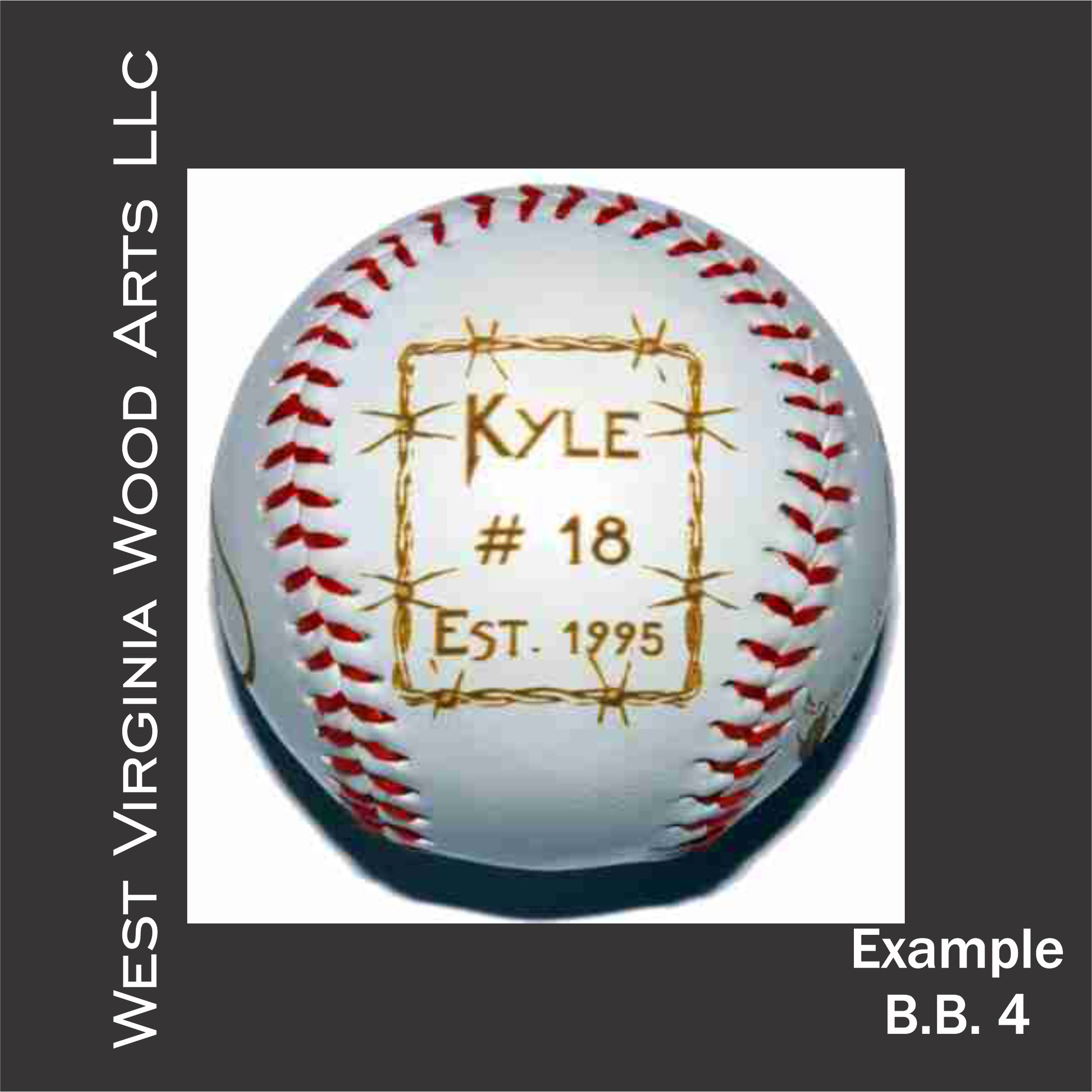 customized baseball with player name and barbwire design