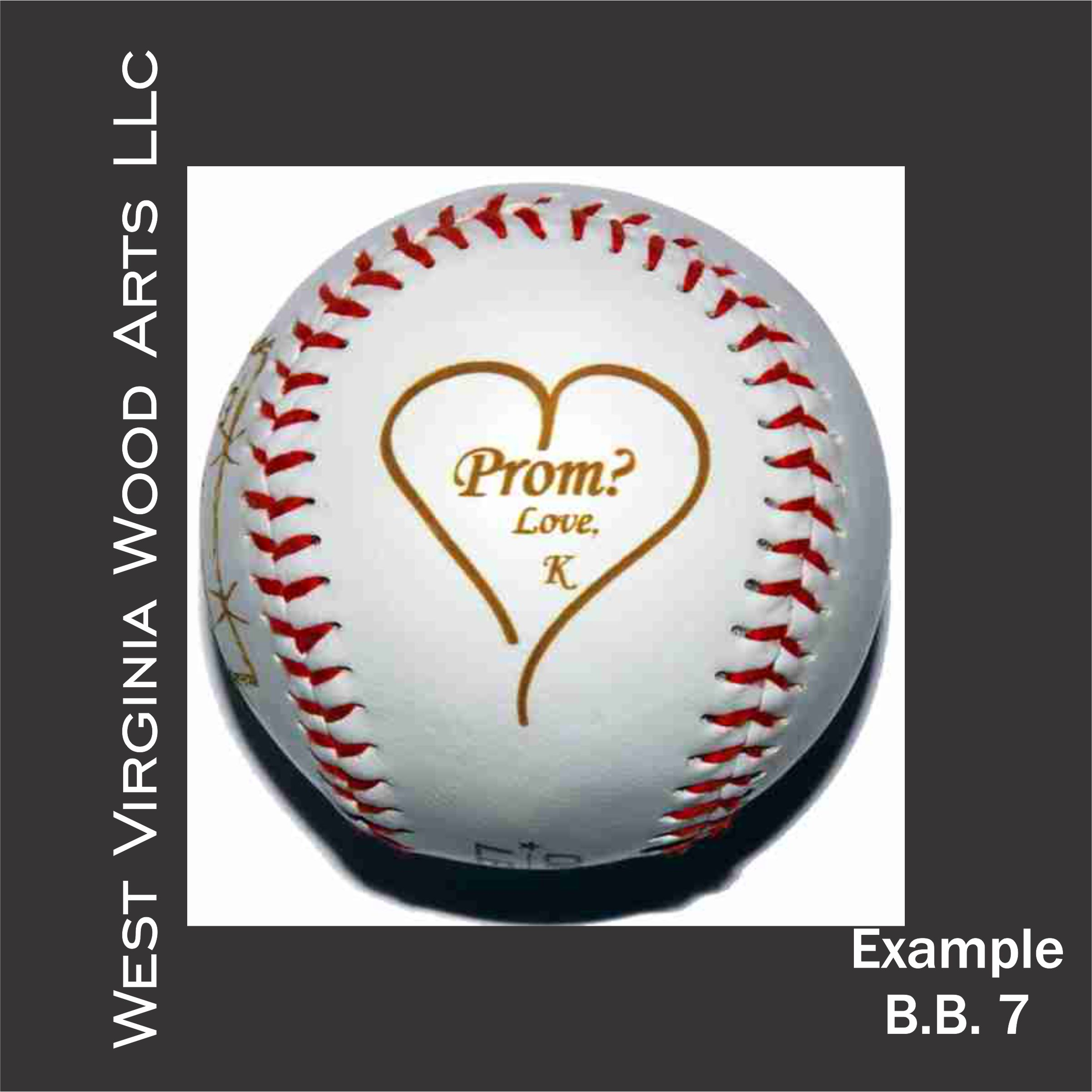 personalized baseball with heart design