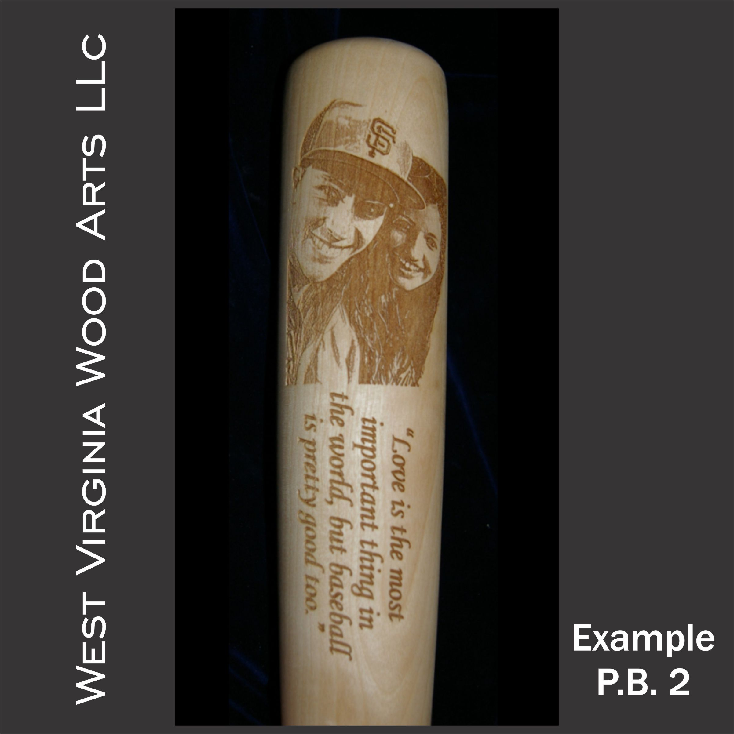 photo engraved baseball bat with vertical photo and horizontal wording engraved