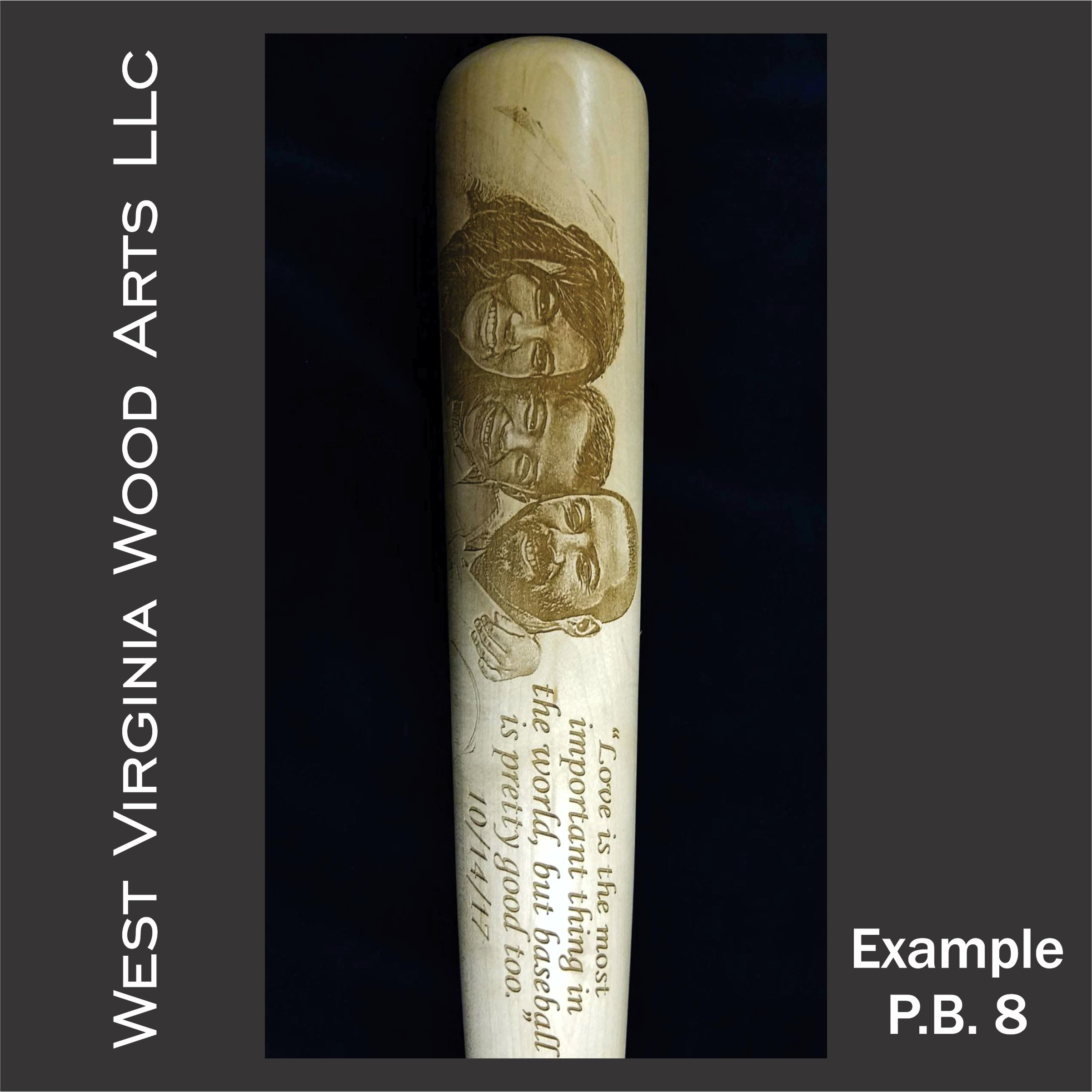 Custom Photo Engraved Baseball Bat Main Example
