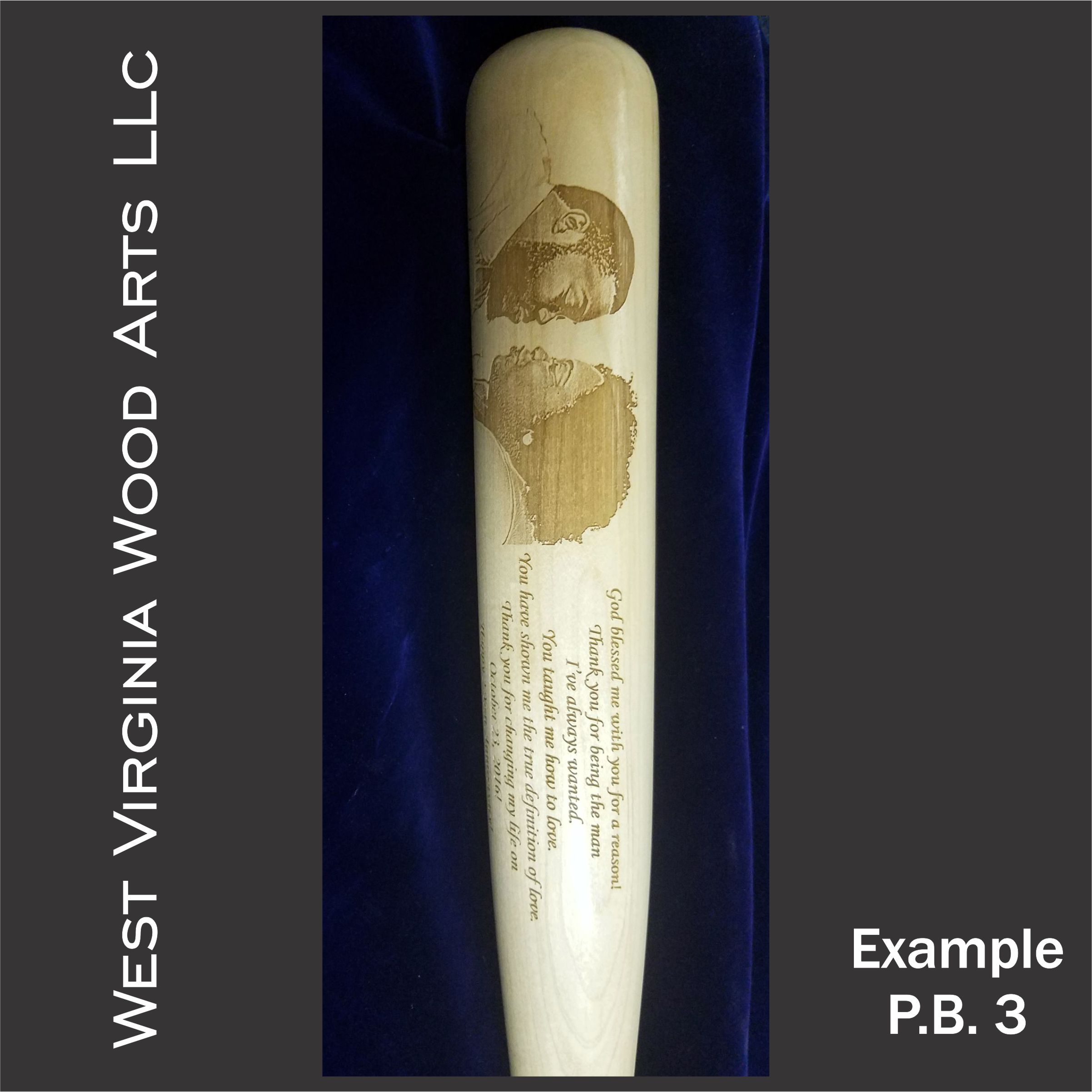 Custom baseball bat with couple photo engraving and wording