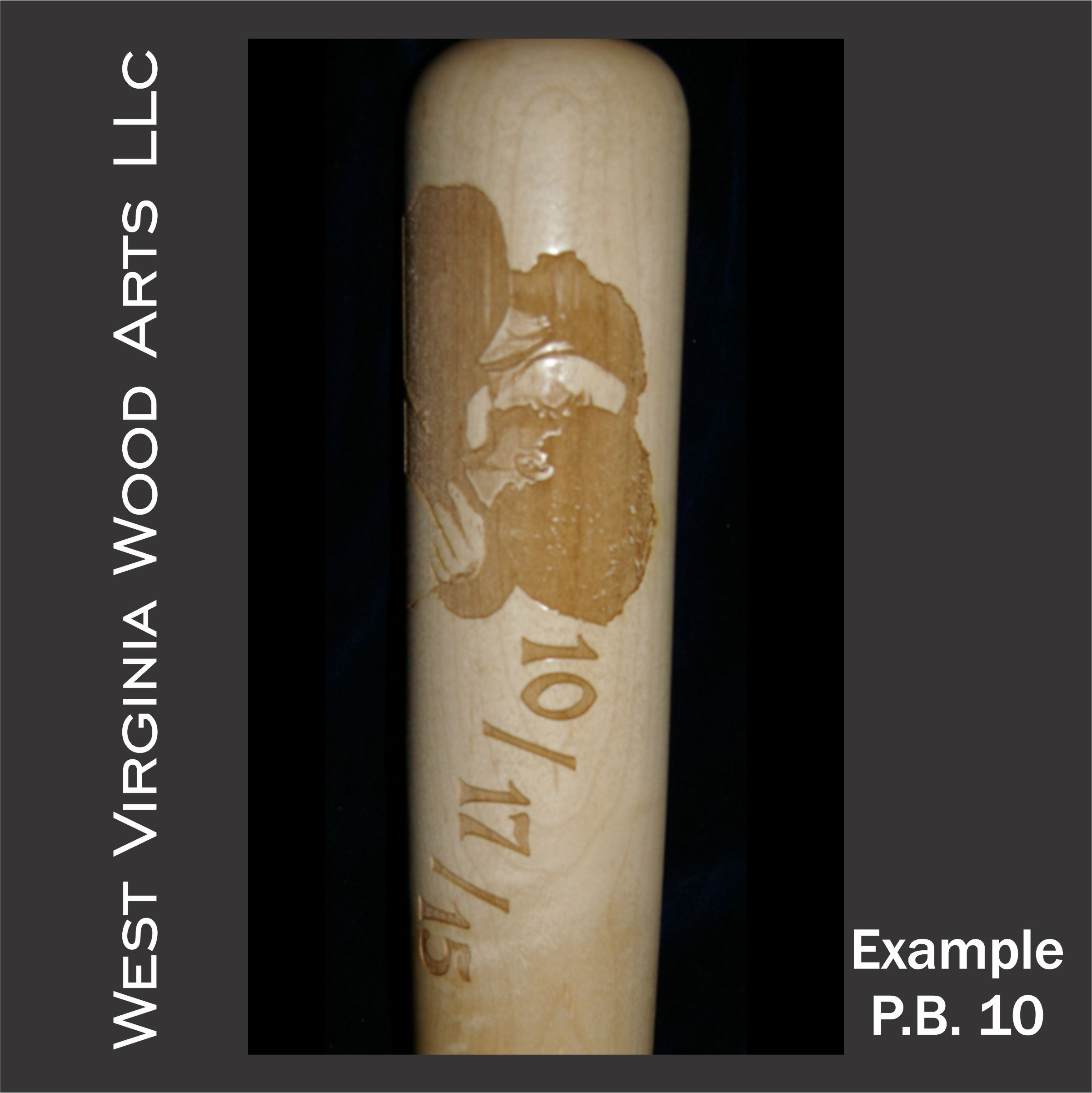 engraved baseball bat with couple embracing and date