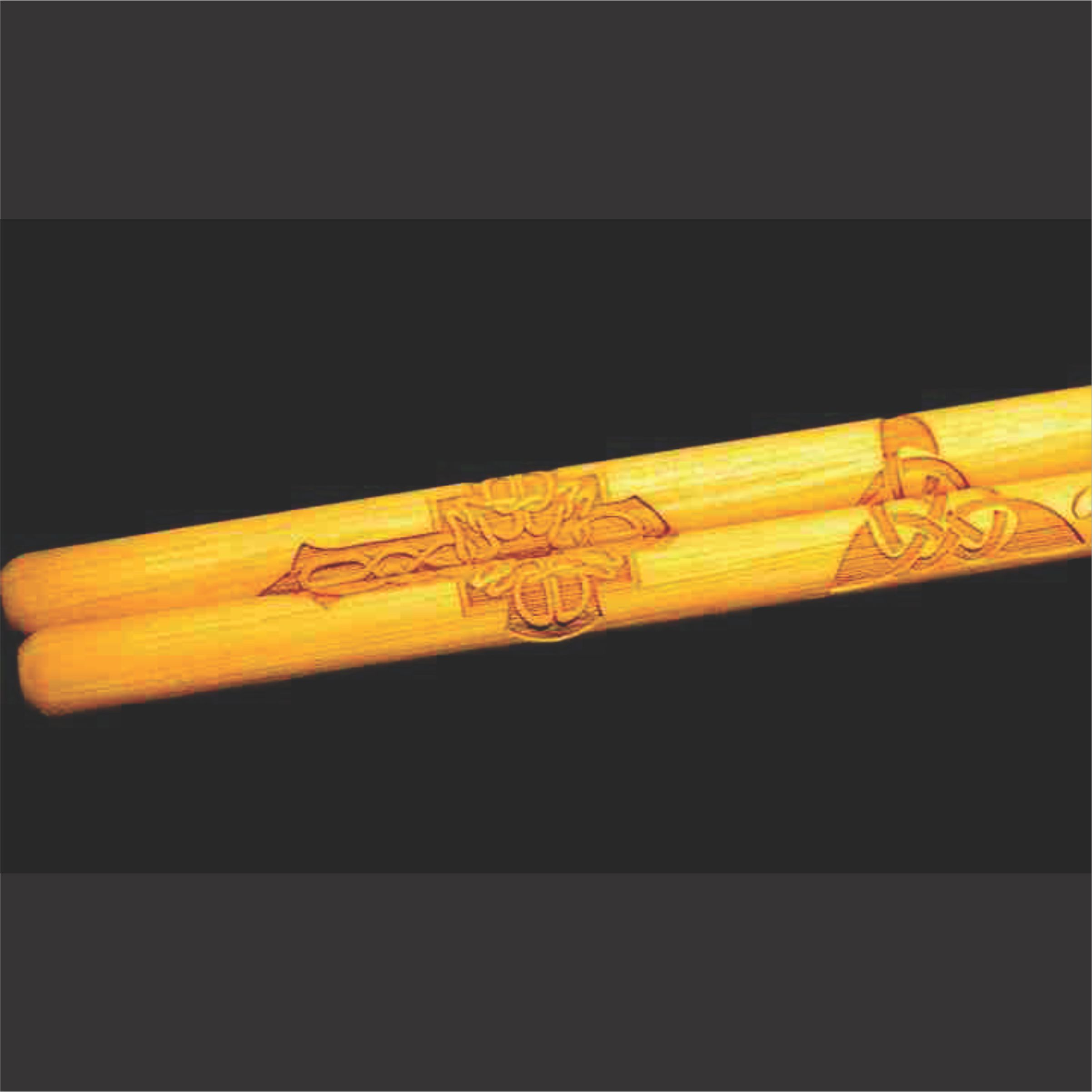 celtic cross and knot design on custom 5A drumsticks