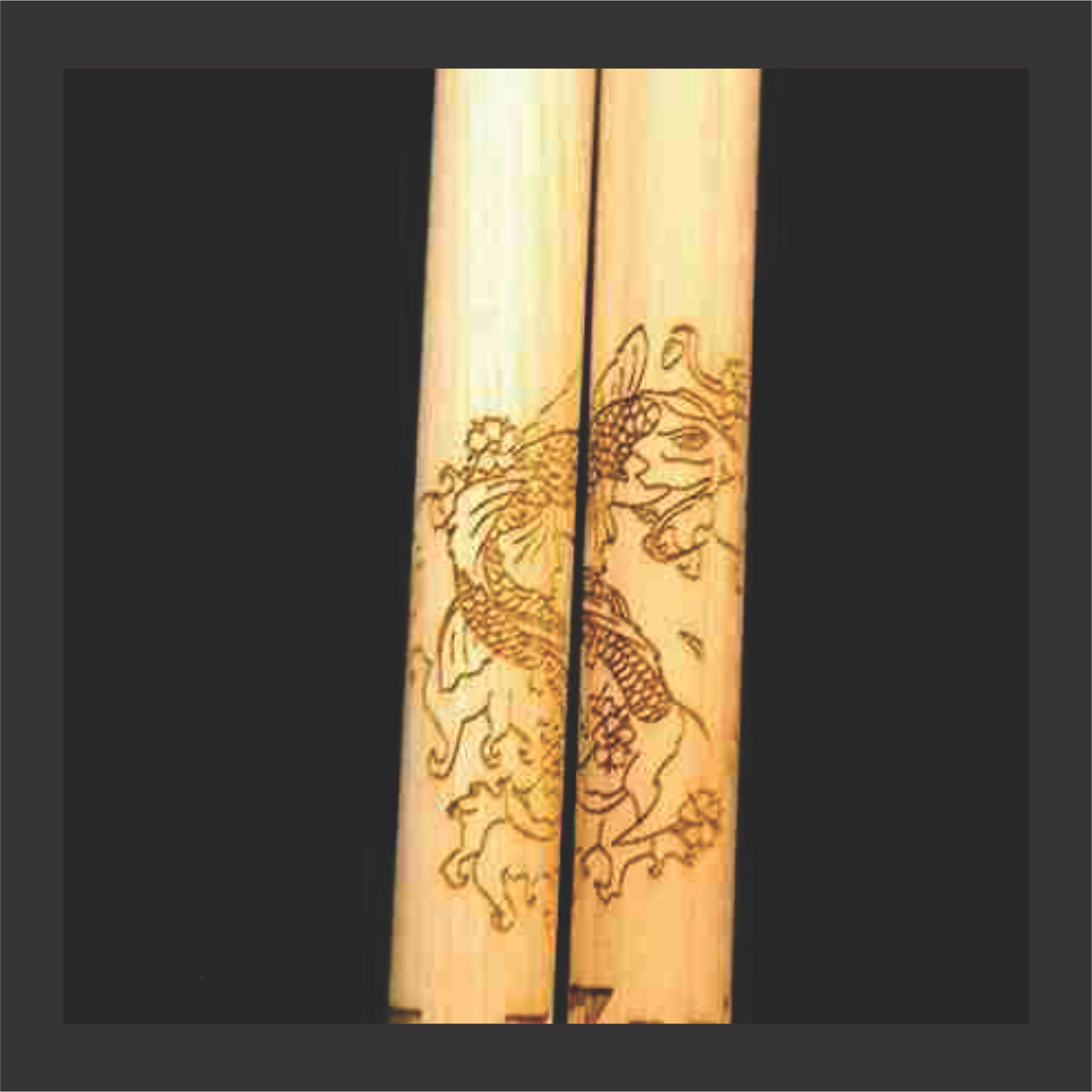 high detailed personalized drumstick set with koi fish engraved