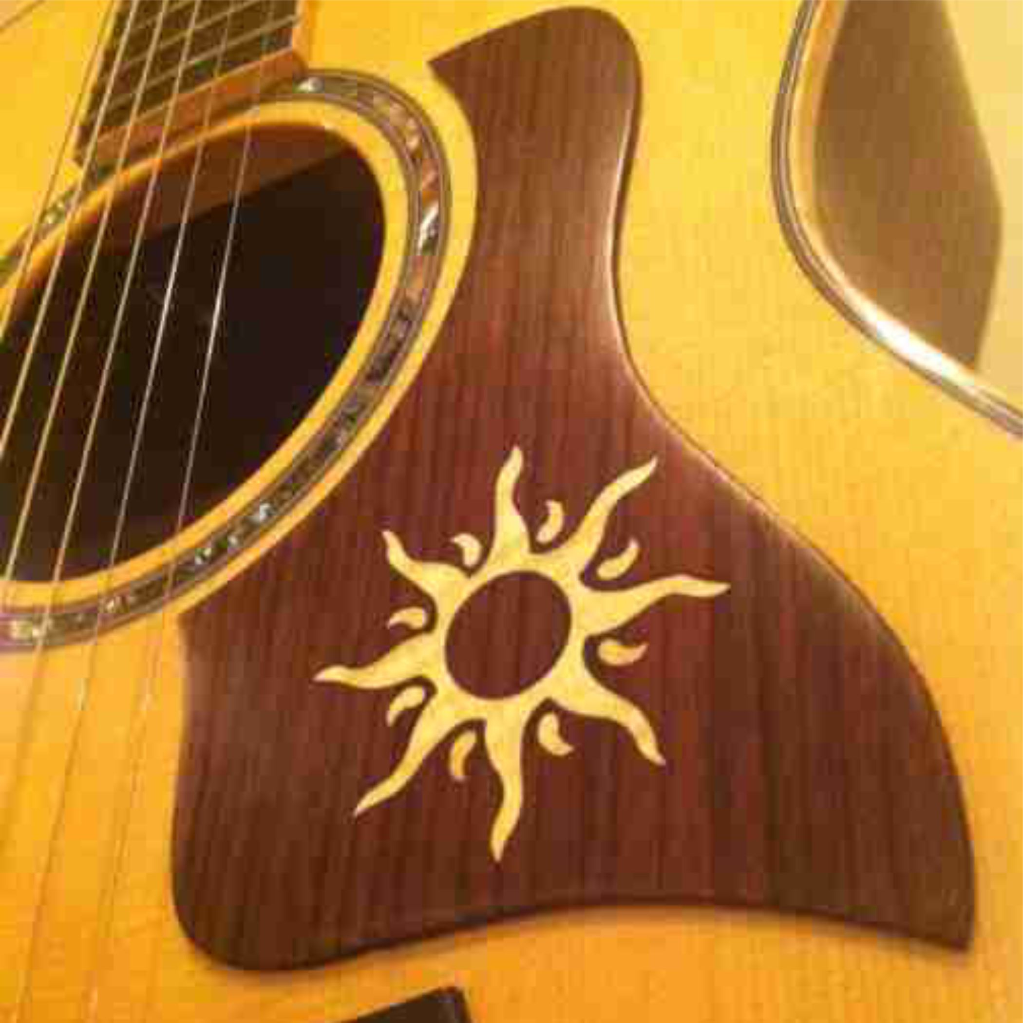Inlaid Sun Graphic Custom Accoustic Pickgurad On Taylor Guitar
