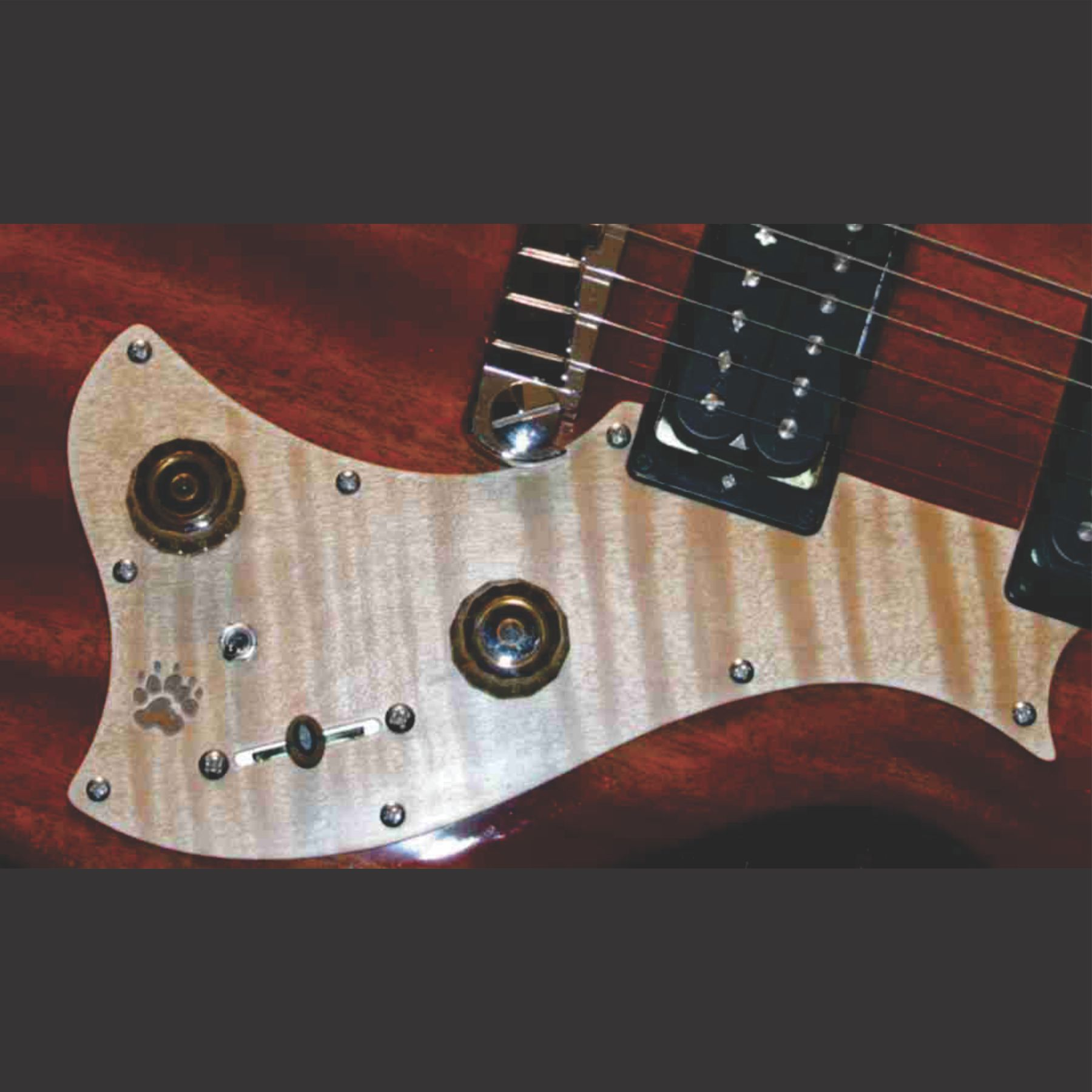 PRS Mira Custom Pickguard Done In Flame Maple With Bear Claw Graphic