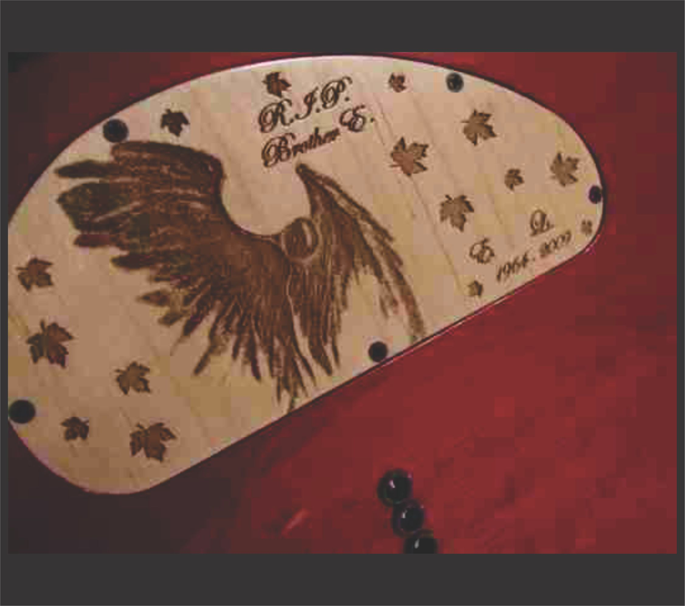Angel Graphic Engraved Electronics Cover Done In Maple On Musicman Guitar