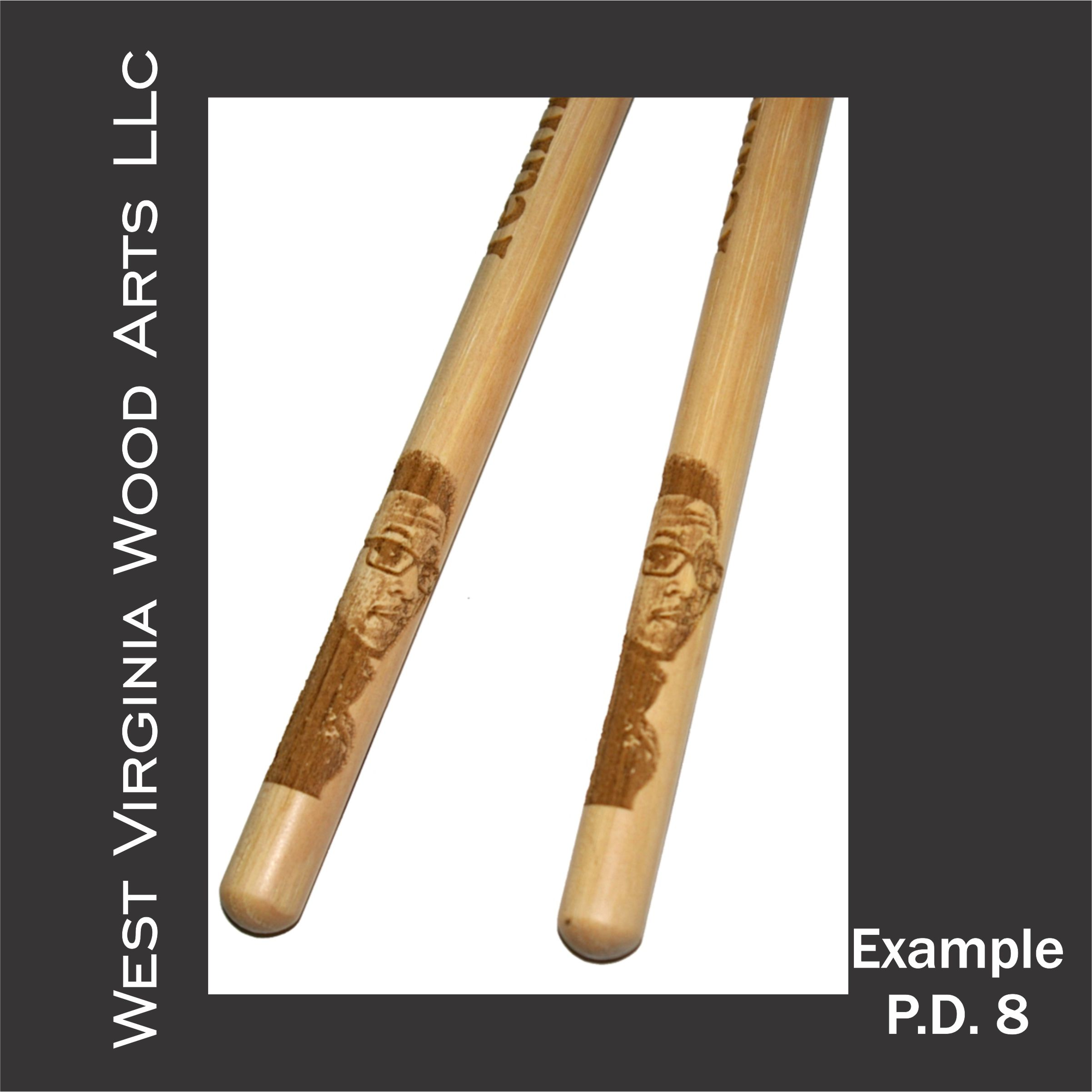 Personalized drumstick set with photo engraving example