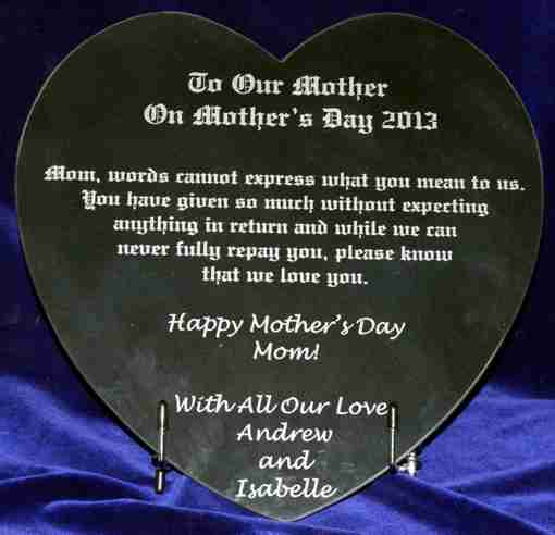 Large 12 inch black marble heart engraved with just wording