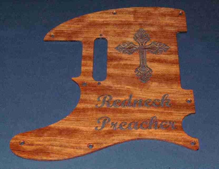 High quality flame bubinga pickguard with custom cross engraved